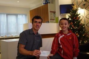 Hull dentist Nick Allday meets fund raiser Gabriel at Manor Dental Health, Willerby Road