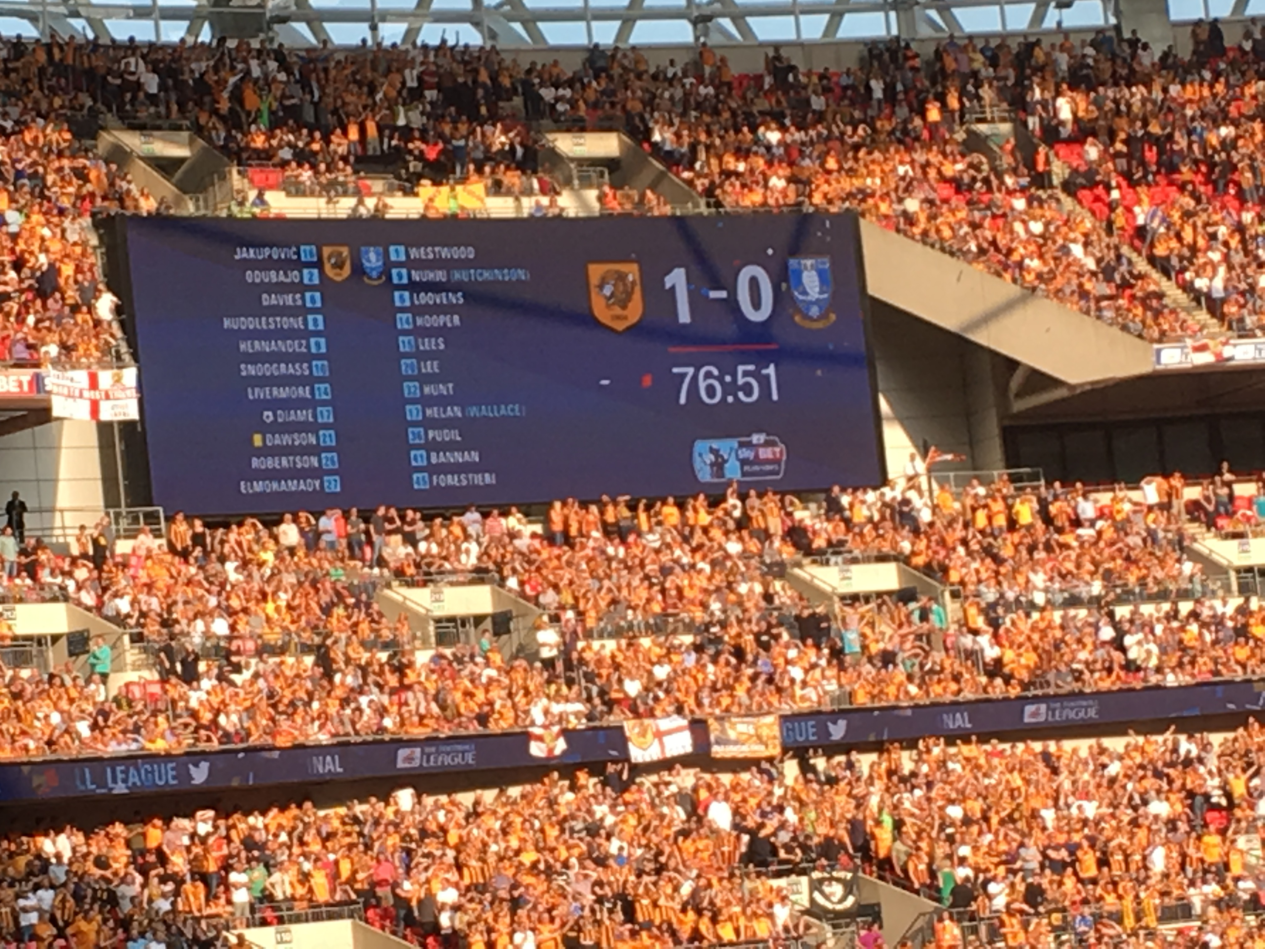 Picture of score board at Wembley when Hull beat Sheffield Wednesday