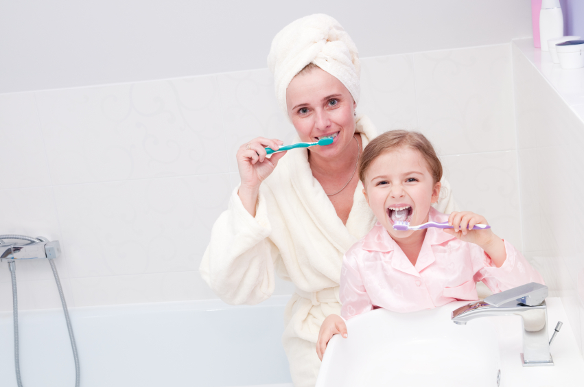 Mum and daughter look after their teeth thanks to advice from Manor Dental Health in Hull