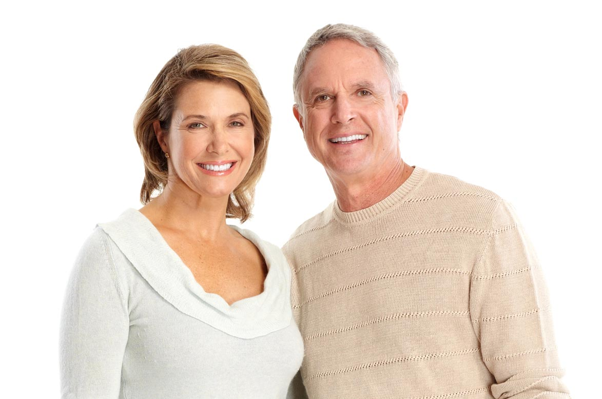 Smiling mature couple. It's important to visit the dentist - even if you have no natural teeth - says Hull dentist, Nick Allday from Manor Dental Health.